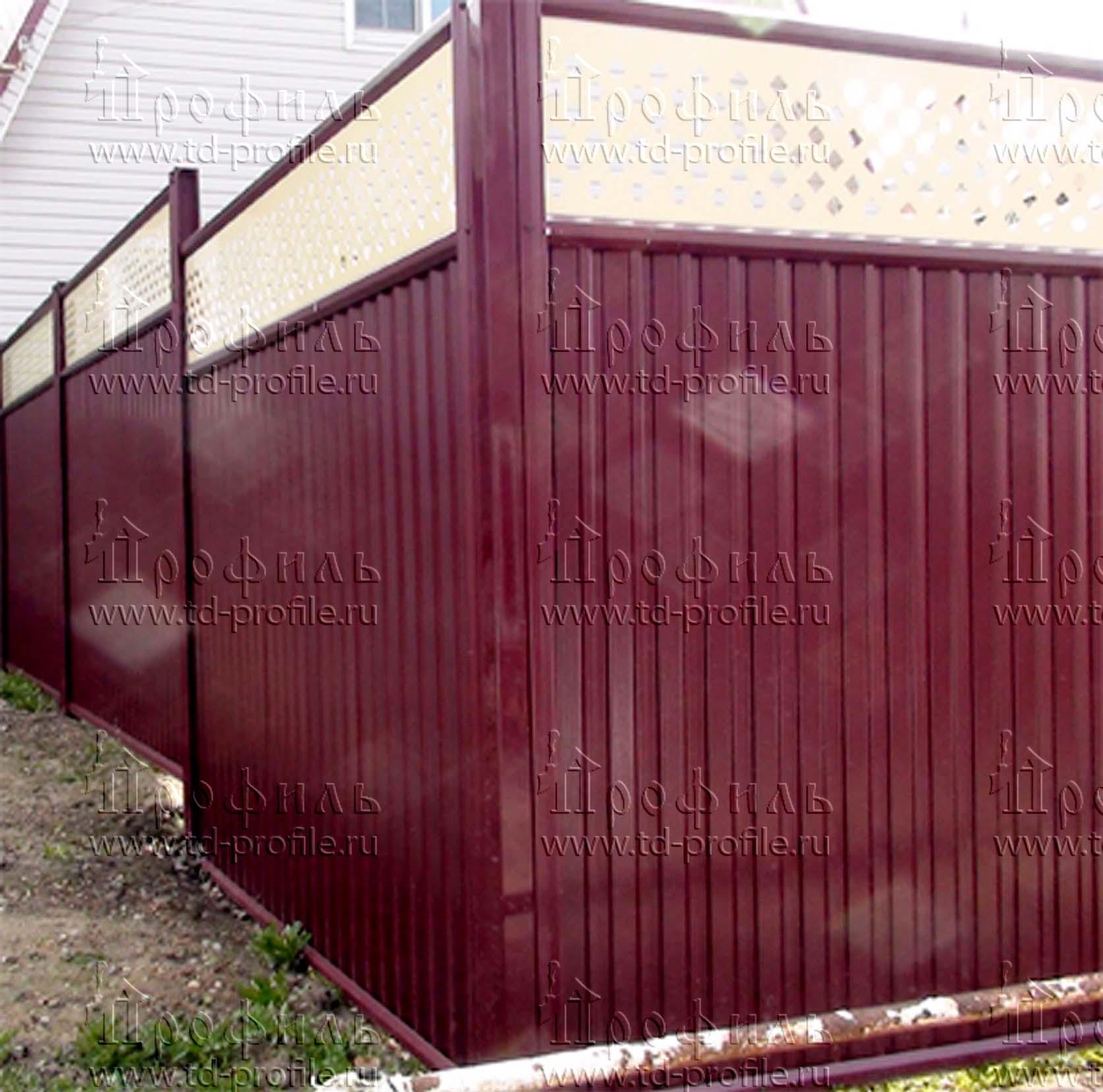 Ворота с профнастила с элементами ковки своими